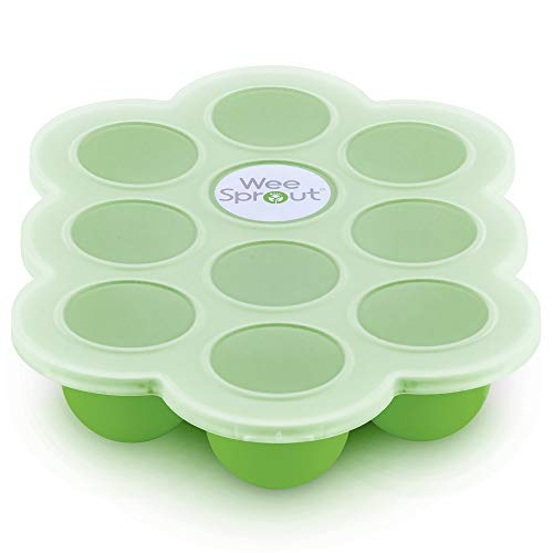 Multiportion Freezer Tray - Silicone Baby Food Freezer Tray with Clip-on Lid by WeeSprout - Perfect Storage Container for Homemade Baby Food, Vegetable & Fruit Purees and Breast Milk - BPA Free & FDA Approved