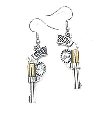 Gun Pistol Revolver Earrings Cowgirl Silver Gold Western Jewelry