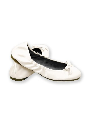 Kids Satin Ballet Flats for Girls by Dessy - Ivory - Size (Cheap Ivory Flower Girl Shoes)
