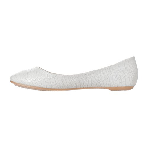 Riverberry Mujeres Aria Basic Closed Toe Ballet Slip Plano En Zapato Gris Croc
