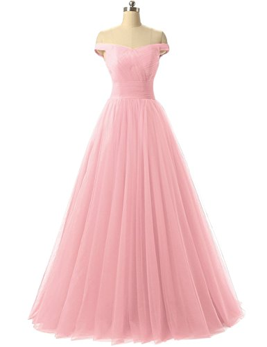 Pink Corset Dress (Duraplast Women's Off Shoulder Prom Dress Tulle Princess Evening Gown US12 Pink)