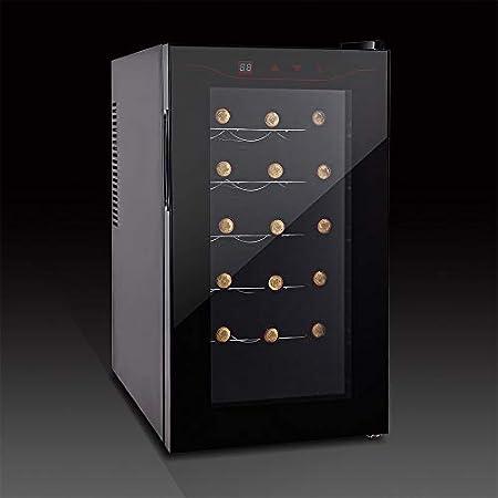 HYYQG Wine Refrigerator 15 Botellas, Refrigerador para Vino Enfriador De Vino Zonas De Temperatura Silenciosa 11-18 ° Pantalla TáCtil Encimera Clase, Black