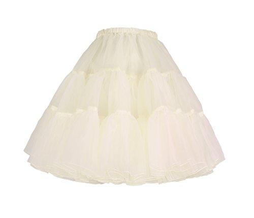Fully Lined Taffeta Skirt (Flora 50s Rock n Roll Hoopless Short Skirt Fancy Tutu Petticoat,18