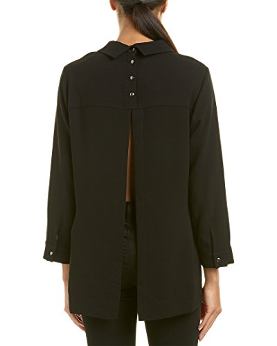 BCBGMAXAZRIA Women's Cecil Woven Collared Top with Flyaway Back, Black, XS by BCBGMAXAZRIA (Image #2)