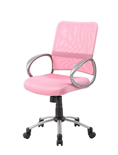 Boss Office Products Mesh Back Task Chair with Pewter Finish in Pink