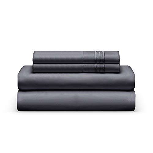 Split King Bed Sheet Set - Graphite Black Luxury Sheet Set - Super Soft Hotel Bedding Deep Pocket - Cool & Wrinkle Free - 2 Fitted, 1 Flat, 2 Pillow Cases - Dark Black Split King - 5 Pieces