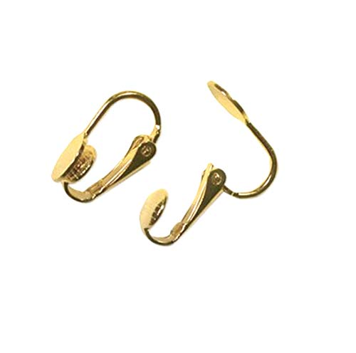 Clip On Earrings Ear Clips Gold Plated 10mm Pad (non-pierced) (20 pieces, 10 prs)