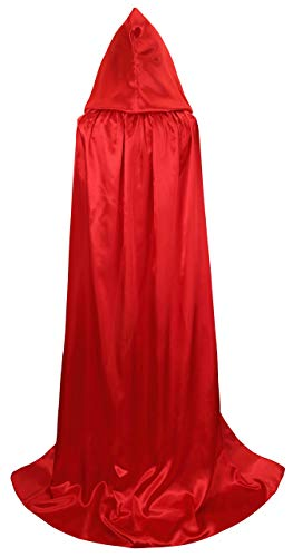 Hooded Cape Cloak with Hood Red Cloaks Costume Cosplay Party Role Play for Women/Men]()