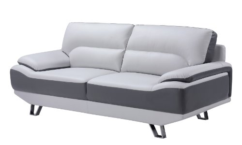 Toned Microfiber Sectional Sofa - Global Furniture Natalie Sofa, Light Grey and Dark Grey