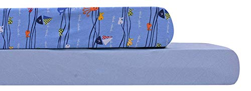 AURAA Baby Fitted Crib Sheets Set, 2 Pack Portable Crib Mattress Topper for Baby Boys Girls,Ultra Soft, Full Standard (N Blue/Sea Wave)