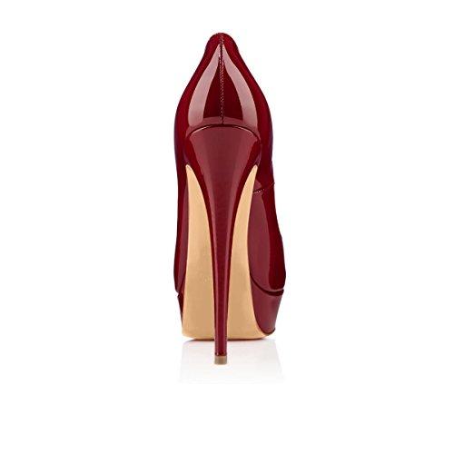 Alleen Maker Dames Schoenen Met Hoge Hakken Pumps Peep Toe Stiletto Hak Lakleer Plateau Rood