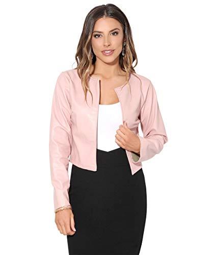 (Krisp Women PU Leather Cropped Jacket Long Sleeve Bolero[4432-PNK-L] Pink)