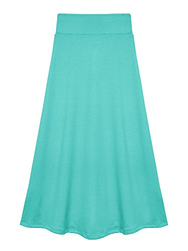 Bello Giovane Girls 7-16 Years Solid Maxi Skirt (Large, Tiffany Blue)