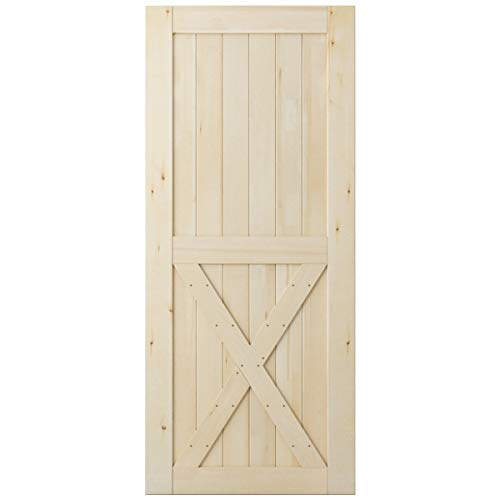 SmartStandard 36in x 84in Sliding Barn Wood Door Pre-Drilled Ready to Assemble, DIY Unfinished Solid Cypress Wood Panelled Slab, Interior Single Door Only, Natural, Single X-Frame (Fit 6FT-6.6FT Rail)