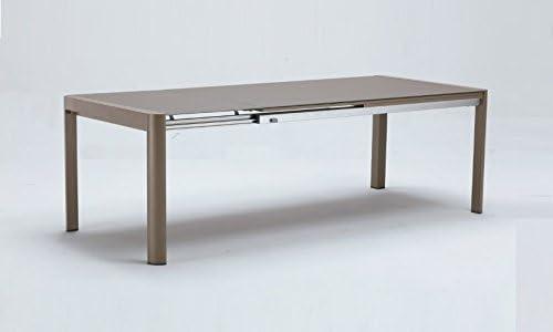 Mesa extensible aluminio taupe Terra 180-240x100: Amazon.es: Jardín