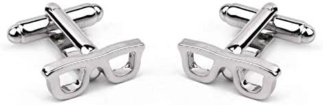 Argento Dubai Silver Plated Eyeglass Frame Crystal Cufflinks with Gift Box for Men