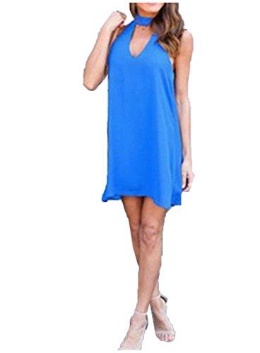 Licol De Bleu Mini Robe En Mousseline De Soie Sans Manches Baggy Solide Femmes Coolred