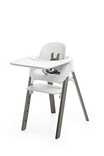 Stokke Steps High Chair, White with Hazy Grey Legs