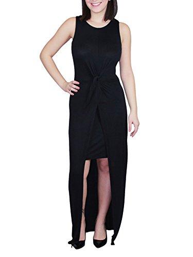 Knot Front Knit Dress (No Comment Juniors Womens Knot Front Maxi Dress Black Size XL)