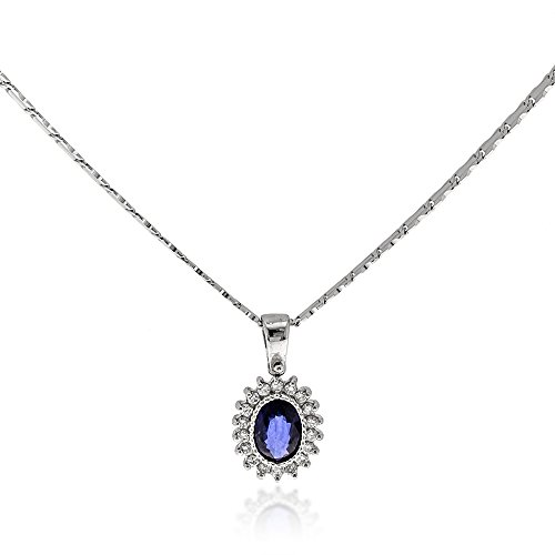 Gioiello Italiano - 14kt white gold necklace with diamonds and sapphire