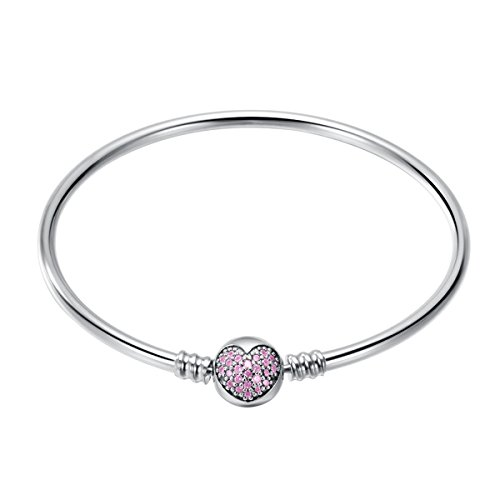 Heart Silver Bangle Open - 925 Sterling Silver Women Bangle Bracelet (Steady Heart) 19CM Changeable, Pink Heart