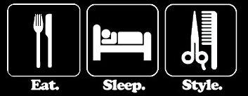 - Eat Sleep Style Beautician 7.5 X 3 Decal Vinyl Sticker|Cars Trucks Vans Walls Laptop| White |7.5 x 3 in|LLI399