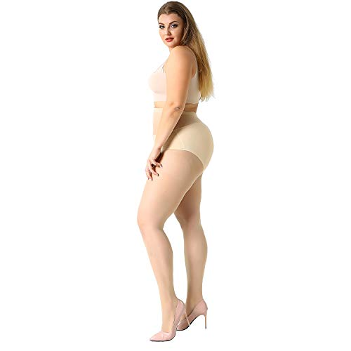 MANZI Women's 4 Pairs Plus Size Ultra-Soft Tights Pantyhose wih 20 Denier