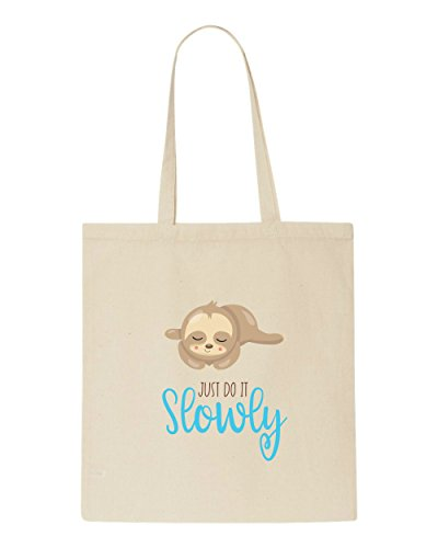Tote Shopper Beige Bag Slowly Cute Seven Sloth Do It Statement nz17wzBqY