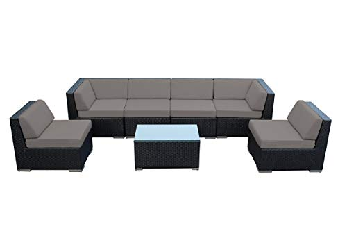 Ohana 7-Piece Outdoor Patio Furniture Sectional Conversation Set, Black Wicker with Sunbrella Rain Taupe Cushions - No Assembly with Free Patio Cover