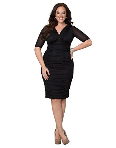 Kiyonna Women's Plus Size Betsey Ruched Dress 5X Raven Black