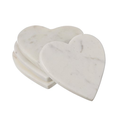 Shalinindia Handmade Love Heart Shape Marble Stone Tea Coasters Set of 4 for drink Size- 4X4X0.75 Inch Cocktail Coffee Dinning Table- Artisan Crafted In India (Opal White) Marble Drink Coasters