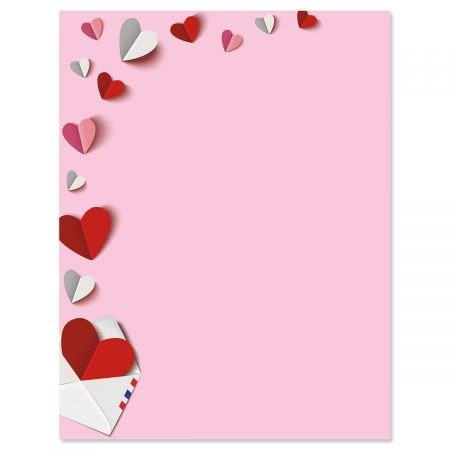 Stationery Valentine (Paper Hearts Letter Papers - Set of 25 Valentine'stationery Papers are 8 1/2