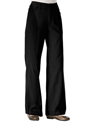 - Women's Plus Size Wide Leg Cotton Jean Black,20 W