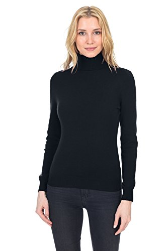 Wool Sweater T-shirt - State Fusio Women's Cashmere Wool Long Sleeve Pullover Turtleneck Sweater Premium Quality Black