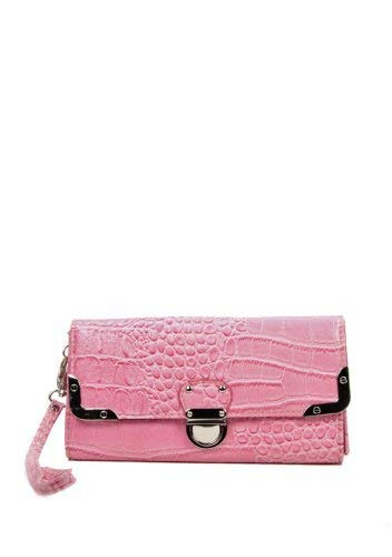 Pink Croc Embossed Wristlet