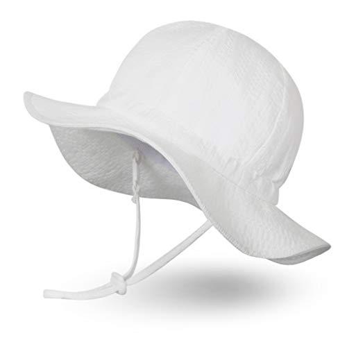 Argyle Cotton Hat - Ami&Li tots Unisex Child Adjustable Wide Brim Sun Protection Hat UPF 50 Sunhat for Baby Girl Boy Infant Kids Toddler - L: White Argyle