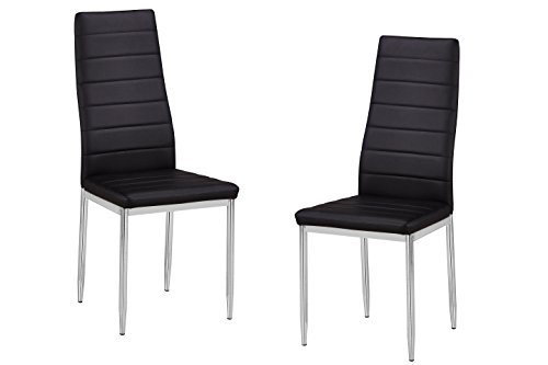 2 Black Dining Chairs - Best Master Furniture T245 Trina Modern Living Parson Chairs, Set of 2, Black