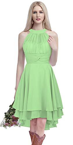 1e2713970c124 MenaliaDress Chiffon Halter High Low Country Bridesmaid Dress Western  Wedding Guest Dress M052LF Lime Green US10