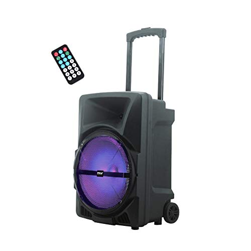 Pyle Wireless Portable PA Speaker System - 800W High Powered Bluetooth Compatible Indoor & Outdoor DJ Sound Stereo Loudspeaker w/USB SD MP3 AUX 3.5mm Input, Flashing Party Light & FM Radio-PPHP1244B ()