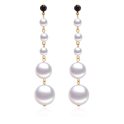 PANSTAR Long Pearl Drop Earrings,White Simulated Shell Pearls Stud Earrings,Long Shoulder Drop Earrings-Great Gift for Women