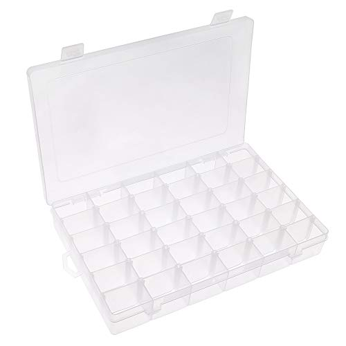 Opret Jewelry Organizer, Plastic Jewelry Box(36 grids) with Adjustable Dividers Earring Storage Containers