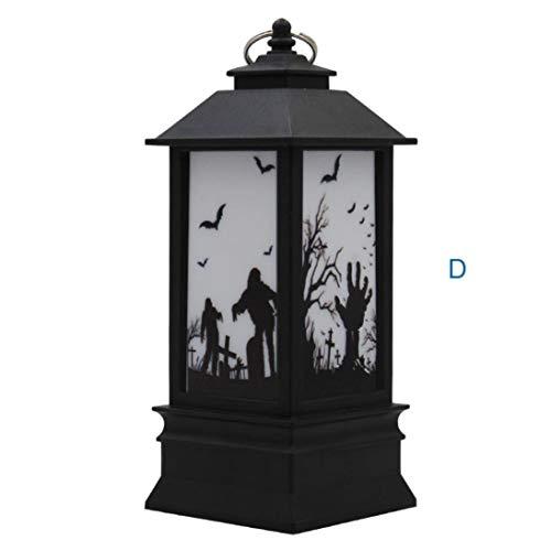 Livoty 1pcs Halloween Simulation Flame Lamp lampion Halloween Pumpkin Printing Decoration Prop (D) ()