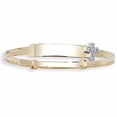 9ct Gold Baby id Bangle Personalised Engraved Christening Cross Expanding 5.5
