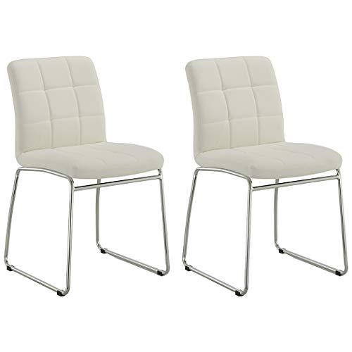 Guest/Reception Dining Chair with Faux Leather Set of 2 Duhome WY-732 Stool (White) ()