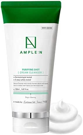 [AMPLE:N] Purifying Shot Cream Cleanser 150ml (5.07 fl.oz.) - Egg White Meringue Facial Cleansing Foam, Removes Dead Skin Cells and Skin Brightening, Dense & Moist Creamy Foam with Mild Ingredients