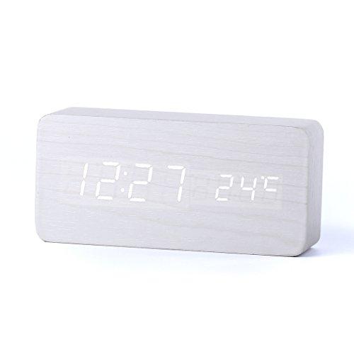 Forepin® Stilvoll Holz Wecker Digital Uhr mit Sound Control und LED-Licht-Anzeige Tischuhr Alarm Dekorationen für das Haus und Büro, Angetrieben durch USB oder Batterie - Rechteck Gestalten (Weiß + Weiß Licht)