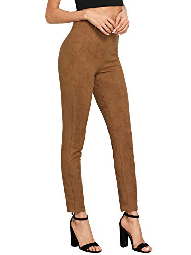SweatyRocks Women's High Waisted Soft Slim Casual Pants Solid Suede Leggings Brown M