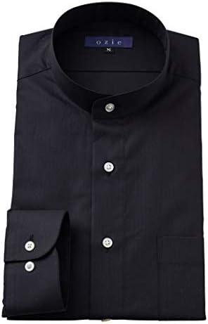 【メンズ・ワイシャツ・カッターシャツ】長袖・綿100%・レギュラーフィット・スタンドカラー・日本製 ブラック黒
