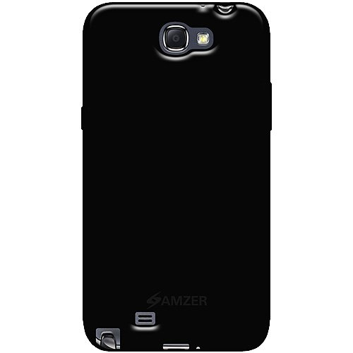 Amzer AMZ95020 Soft Gel TPU Gloss Skin Case Cover for Samsung Galaxy Note 2 II GT-N1700 - 1 Pack - Retail Packaging - Black