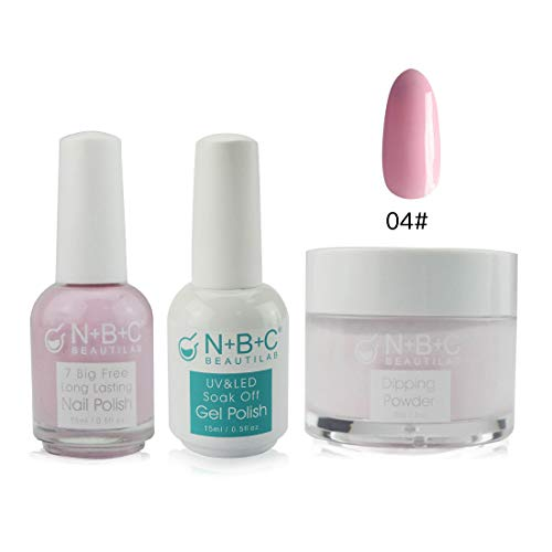 3-in-1 Kits Set Dipping Powder Dip Nails (30g / 2fl.oz), Nail Polish(15ml / 0.5fl oz), Gel Polish(15ml/0.5fl oz), Light Pink Color Matching System, DP002-#102
